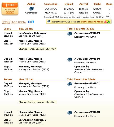 Los Angeles to Managua flight deal details