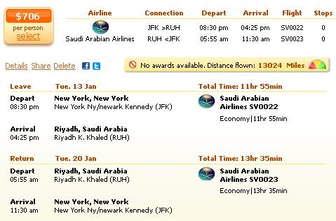 New York to Riyadh flight deal details