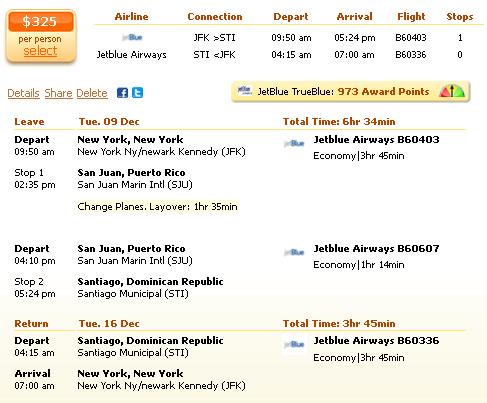 New York to Santiago de los Caballeros flight deal