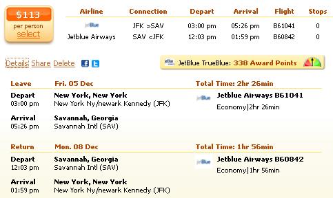 New York to Savannah flight deal details