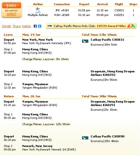 New York to Yangon flight deal screenshot
