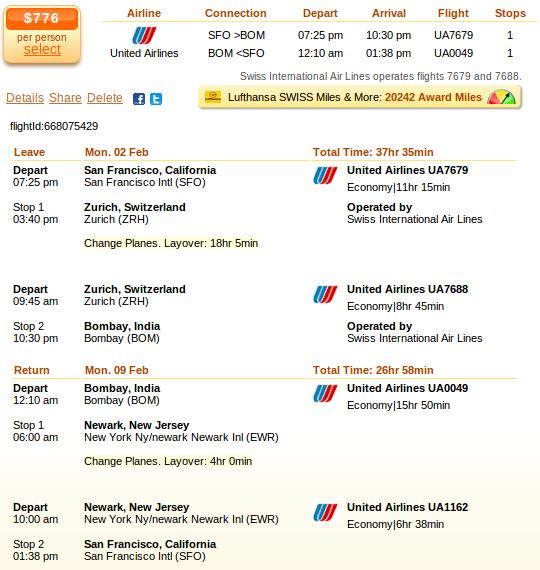 San Francisco to Mumbai flight deal details