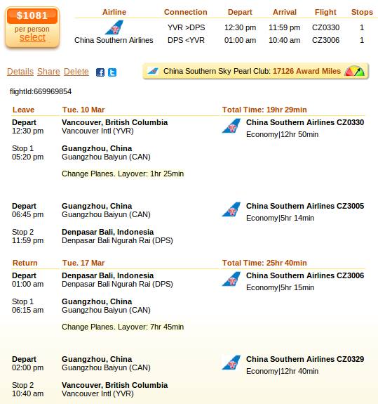 Vancouver to Bali flight deal screenshot
