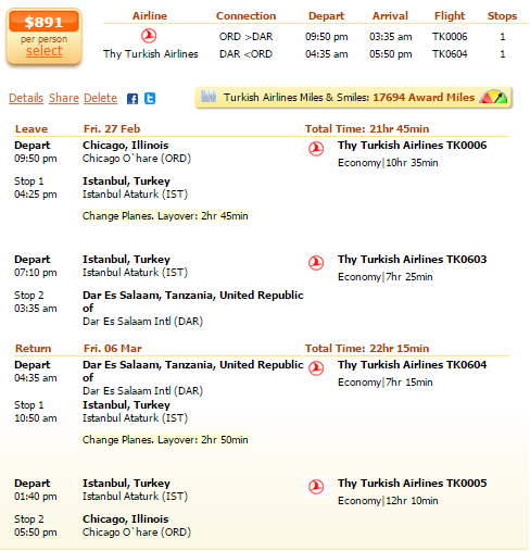 Chicago to Zanzibar airfare deal screenshot