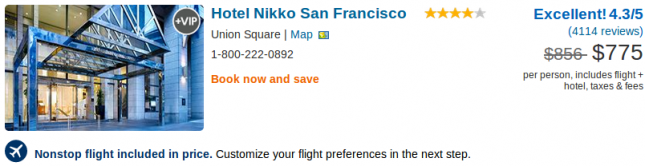Hotel Nikko San Fancisco vacation deal details