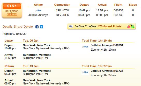 New York to Burlington flight deal details