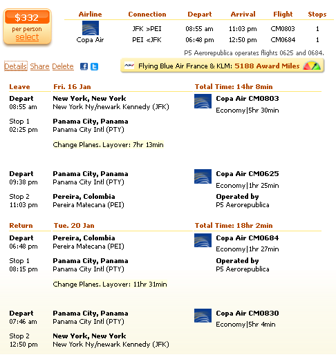 New York to Pereira flight deal details