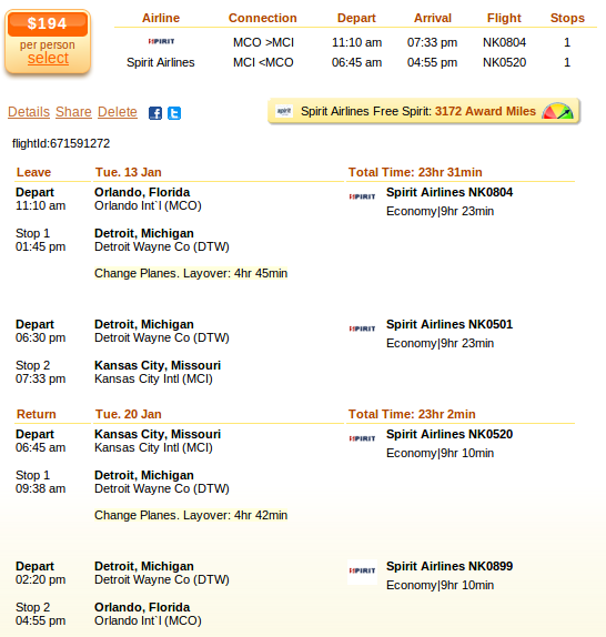 Orlando to Kansas City flight deal screenshot