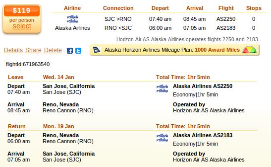 San Jose to Reno flight deal details