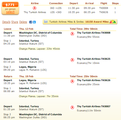 Washington to Lagos flight deal screenshot