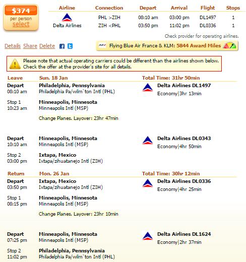 Philadelphia to Ixtapa flight deal screenshot