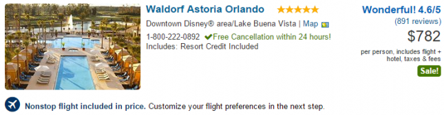 Waldorf Astoria Orlando vacation package deal