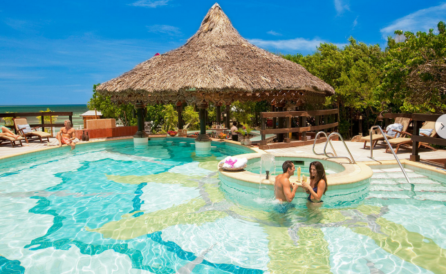 One of seven pools at Sandals Royal Caribbean