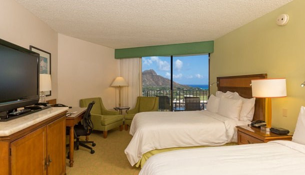 Ocean view room at Marriott Waikiki Beach Resort