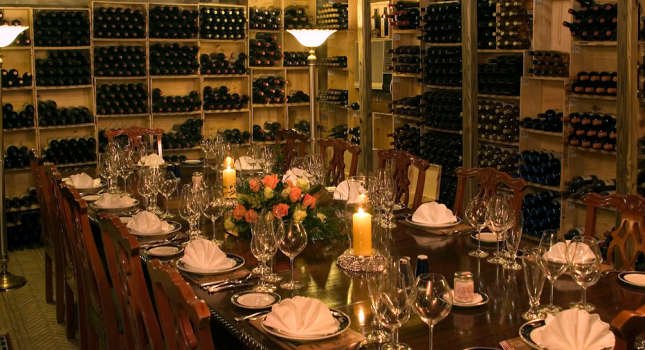 Dining in the wine cellar of Graycliff Hotel