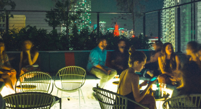 Rooftop bar at The Langford Hotel